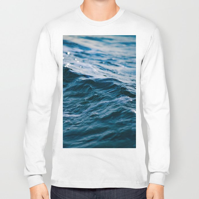 3cfa6e8863ac Blue Ocean Waves Long Sleeve T-shirt by nauticaldecor