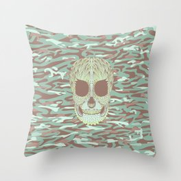 camouflage skull Throw Pillow