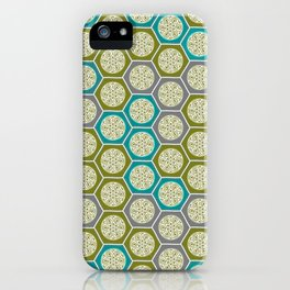 Hexagonal Dreams - Green, Grey, Turquoise iPhone Case