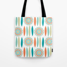 Mid Century Modern Mandala and Leaf Nature Print Tote Bag