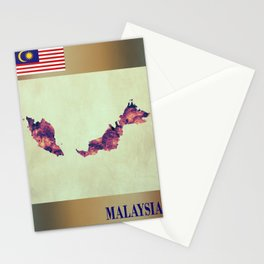 Malaysia Map with Flag Stationery Cards