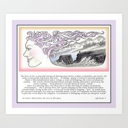 AN ARTIST'S SKETCH NOTES SHE LIVES IN THIS PLACE Art Print