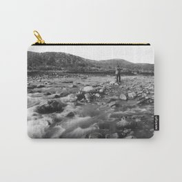 Man with rifle stands in mountain stream as it floods, east of Palmdale, California, ca.1920 Carry-All Pouch