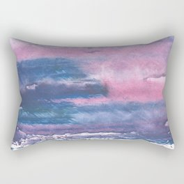 Pink Blue streaked watercolor painting Rectangular Pillow