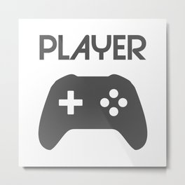 Player Text and Gamepad Metal Print