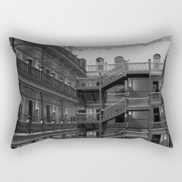 Bradbury Building, Los Angeles Romanesque Revival ornate wrought iron work and skylit atrium  Rectangular Pillow