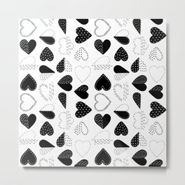 Black and White Patch Boro Embroidery Hearts Metal Print