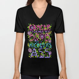 CANCER TOUCHED MY BOOB SO I KICKED ITS ASS Unisex V-Neck