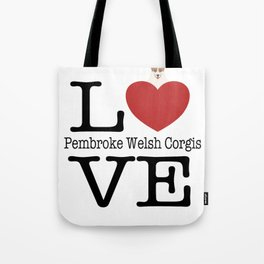 Love Cute Pembroke Welsh Corgis Tote Bag