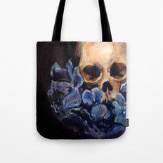 Skull & Blue Flowers Tote Bag