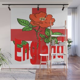 St George Flag With English Rose For England Fans Wall Mural