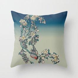 Bullfinch and Pug Cherry Throw Pillow