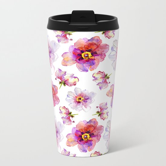 Delicate Floral Pattern 03 Metal Travel Mug
