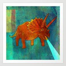 Orange Dinosaur with Laser Breath Art Print