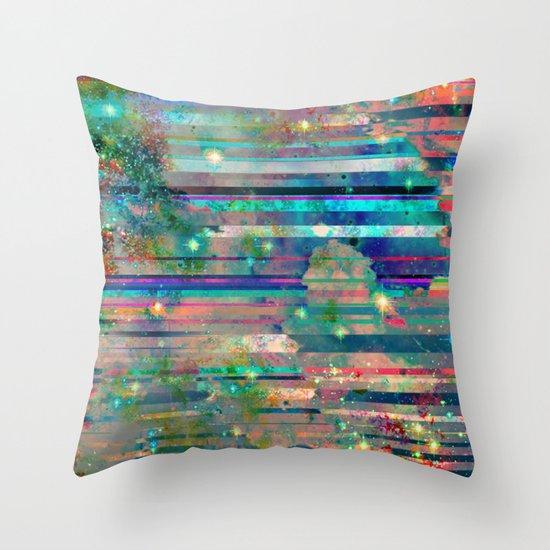 Space Glitch Throw Pillow