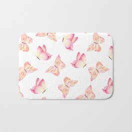 Hand painted pink coral watercolor pretty butterflies Bath Mat