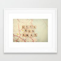 run Framed Art Prints featuring let's run away by shannonblue