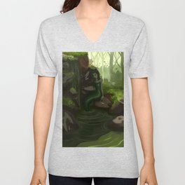 Water nymph by the waterfall Unisex V-Neck