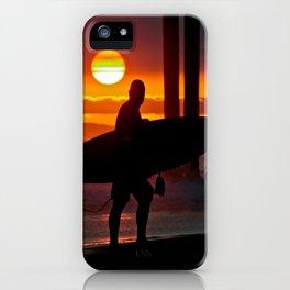 Huntington Beach Pier / Surfer Sunset iPhone Case
