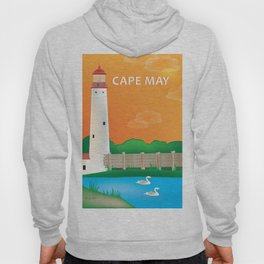 Cape May, New Jersey - Skyline Illustration by Loose Petals Hoody