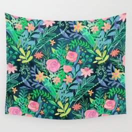Roses + Green Messy Floral Posie Wall Tapestry