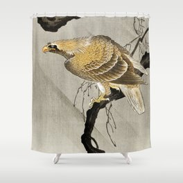 Golden Eagle sitting on the tree - Vintage Japanese woodblock print Shower Curtain