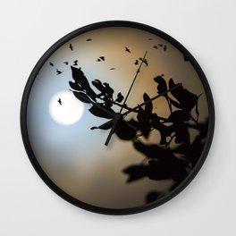 Bats in a Full Moon on Halloween Wall Clock