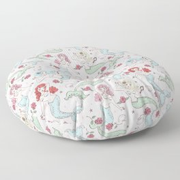 Mermaids and Roses on Pink Floor Pillow