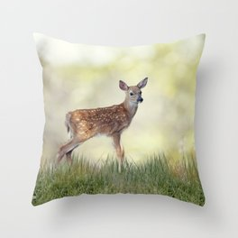 White-tailed deer fawn in grass Throw Pillow