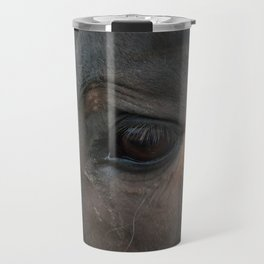 Sad Eyes Animal - Close-up Horse Photograph Travel Mug