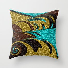 Aqua, Brown, and Gold Mosaic Throw Pillow