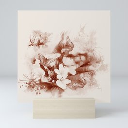 Sepia toned tropical flowers and butterflies Mini Art Print