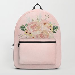 Wild Roses on Seashell Pink Watercolor Backpack
