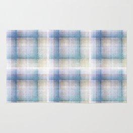 White, blue plaid. Rug