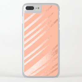 Sweet Life Swipes Peach Coral Shimmer Clear iPhone Case