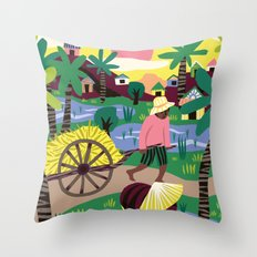 Ricefields Cambodia Throw Pillow