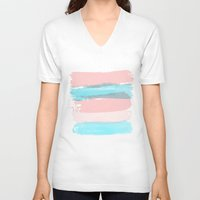 the strokes V-neck T-shirts featuring Flowers strokes by Simi Design