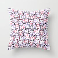 pastel goth Throw Pillows featuring Angelic Kitty (Pastel Goth) by display