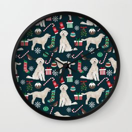 Golden Doodle unique christmas gifts for dog person dog breed pet portraits by pet friendly Wall Clock