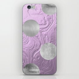Cute big silver polka dots on purple background iPhone Skin