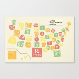 United State Highways of America - Classic Map Colors Canvas Print