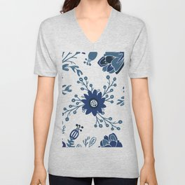 Porcelain Flowers Unisex V-Neck