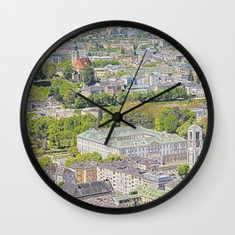 Austria - drawing Salzburg 1 Wall Clock