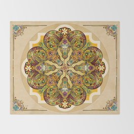 Mandala Sacred Rams - Bright Version Throw Blanket