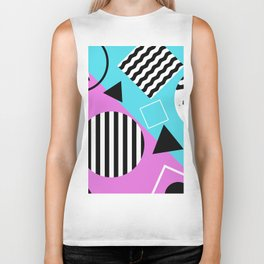 Stripes And Splats 1 - Wacky, Random, Abstract, Black And White Stripes, Blue and pink Artwork Biker Tank