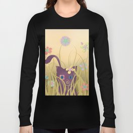 Wild Kitty Cat, Spring Blooming Flowers, Golden Beige Sky Long Sleeve T-shirt