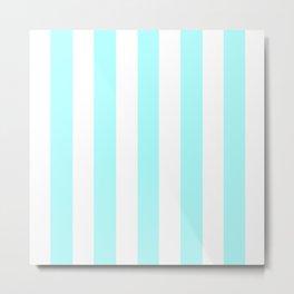Celeste heavenly - solid color - white vertical lines pattern Metal Print