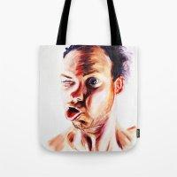 no face Tote Bags featuring Face by Martin Kalanda