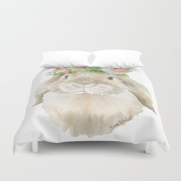 Lop Rabbit Floral Wreath Watercolor Painting Duvet Cover