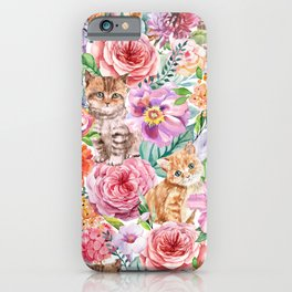 Kittens in flowers iPhone Case